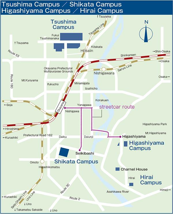Ku Med Campus Map.Access Maps Okayama University